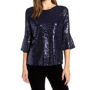 New Gibson sequin Bell sleeve Keyhole top Xs